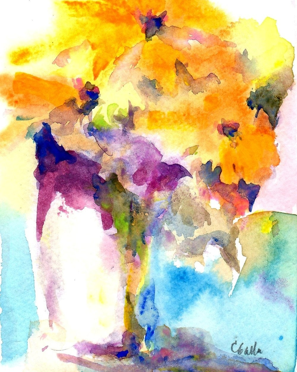 Watercolor flowers giclee print in gold by corinnegallafineart for Abstract watercolour flowers