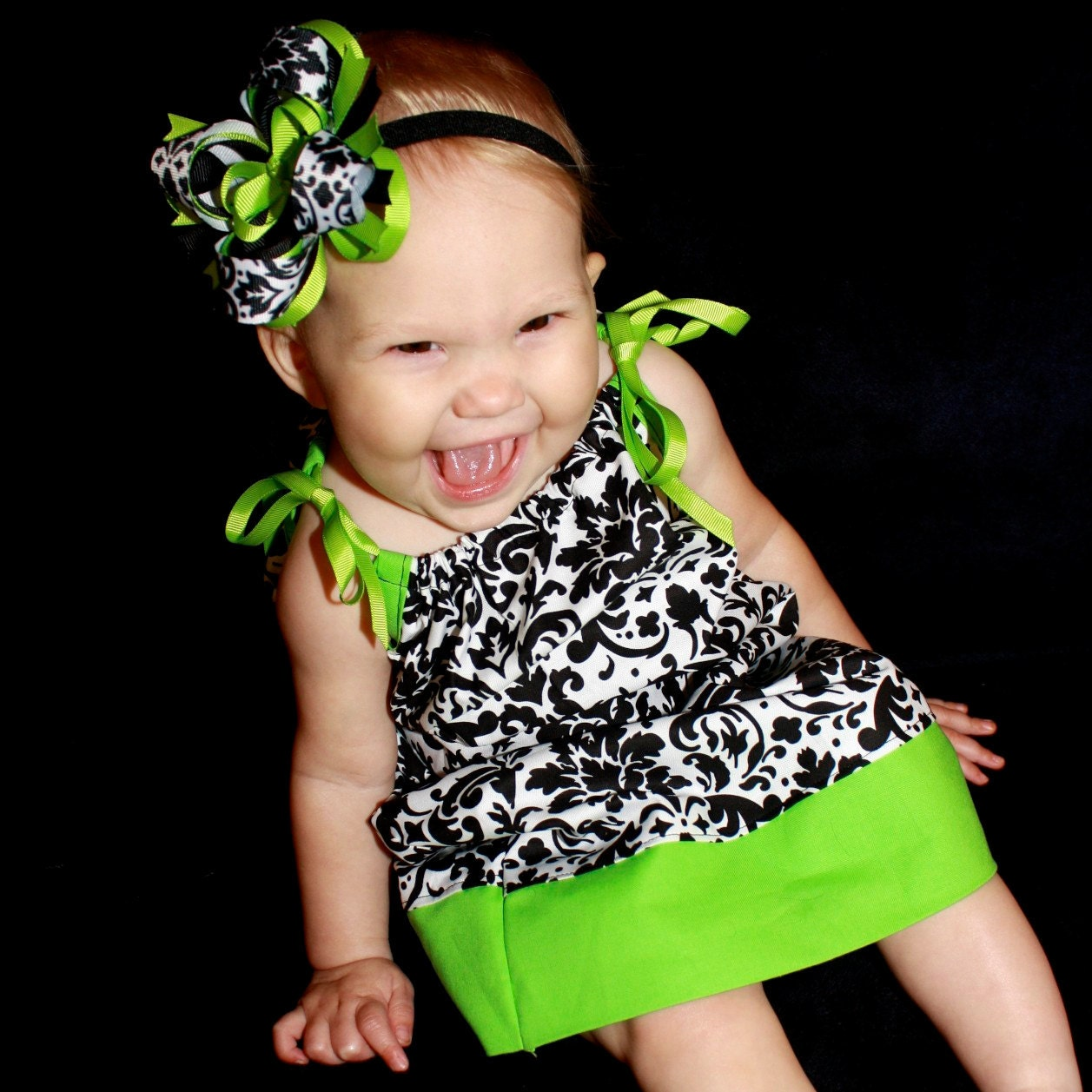 Lime Green and Black Damask Pillowcase Dress...Newborn to 2T