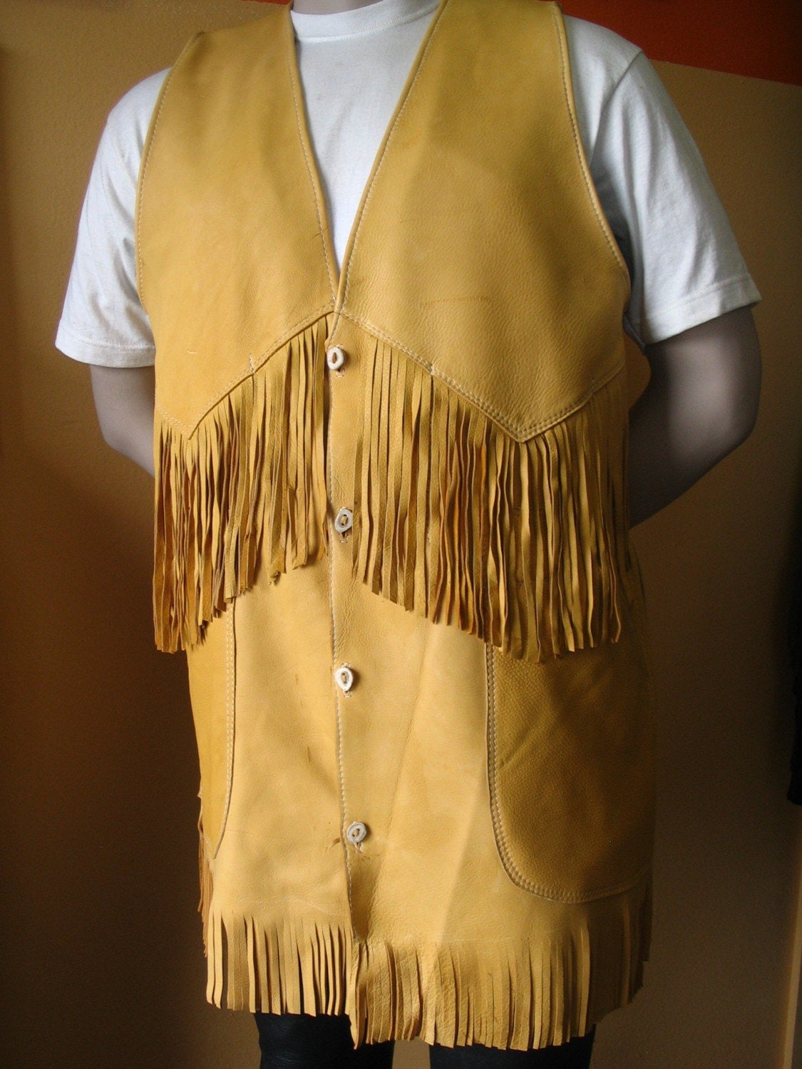 Artisan Made Mens Leather Vest Old West Native By Dleather