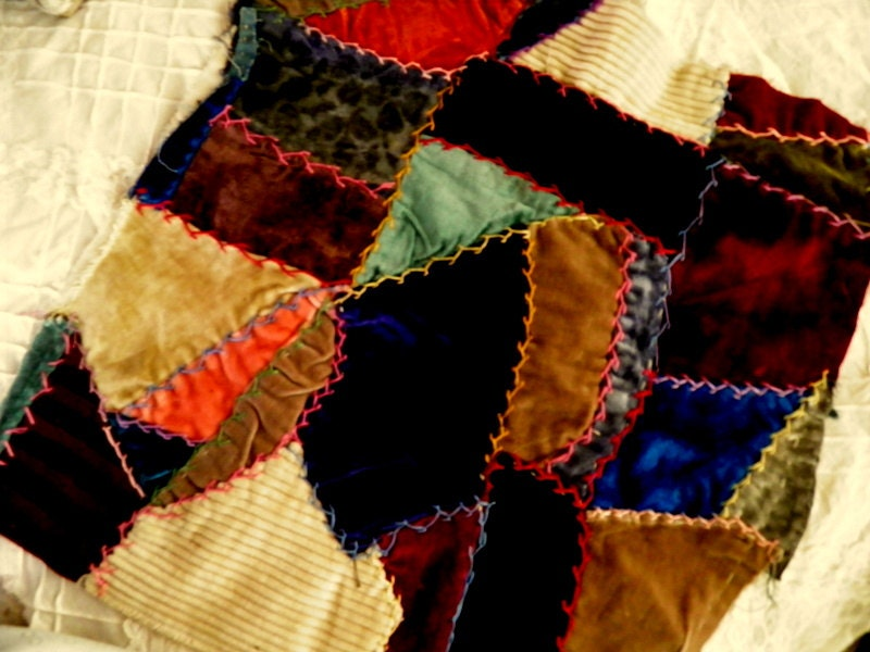 Vintage velvet crazy quilt piece with by homesteadtreasures