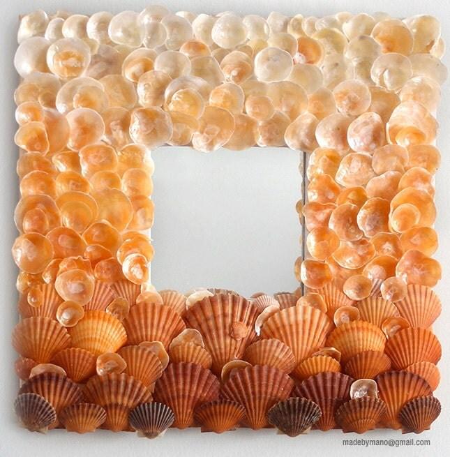 Seashell зеркало вдохновлен огненный оранжевый закат на Гавайях - Кайлуа KONA