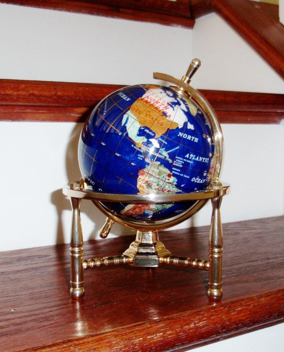 gemstone globe blue 8 lapis solid polished brass by