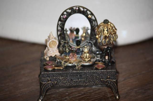 Miniature Victorian Boudoir Vanity Trinket Box by Sweet Romance - chasegirl