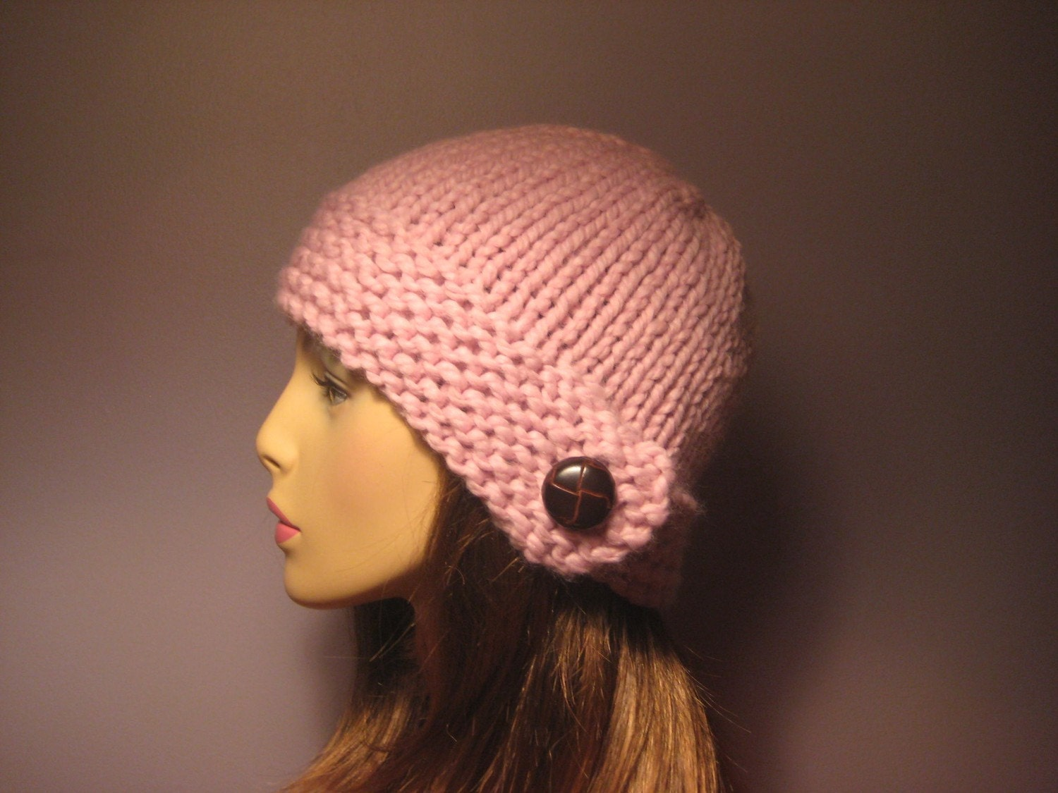 Knit Pattern Beanie With Brim : PATTERN Button Brim Knit Hat PDF Pattern Knit Hat by ...