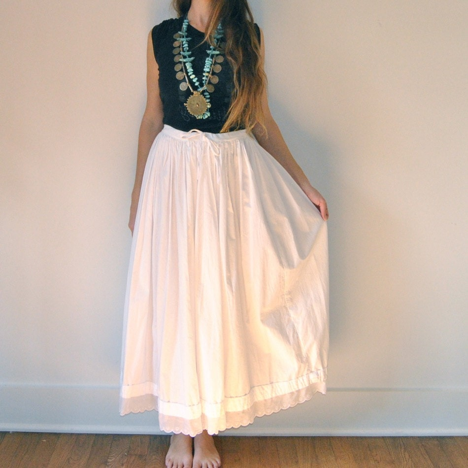 white high waist maxi skirt shabby chic flowy by jacknboots