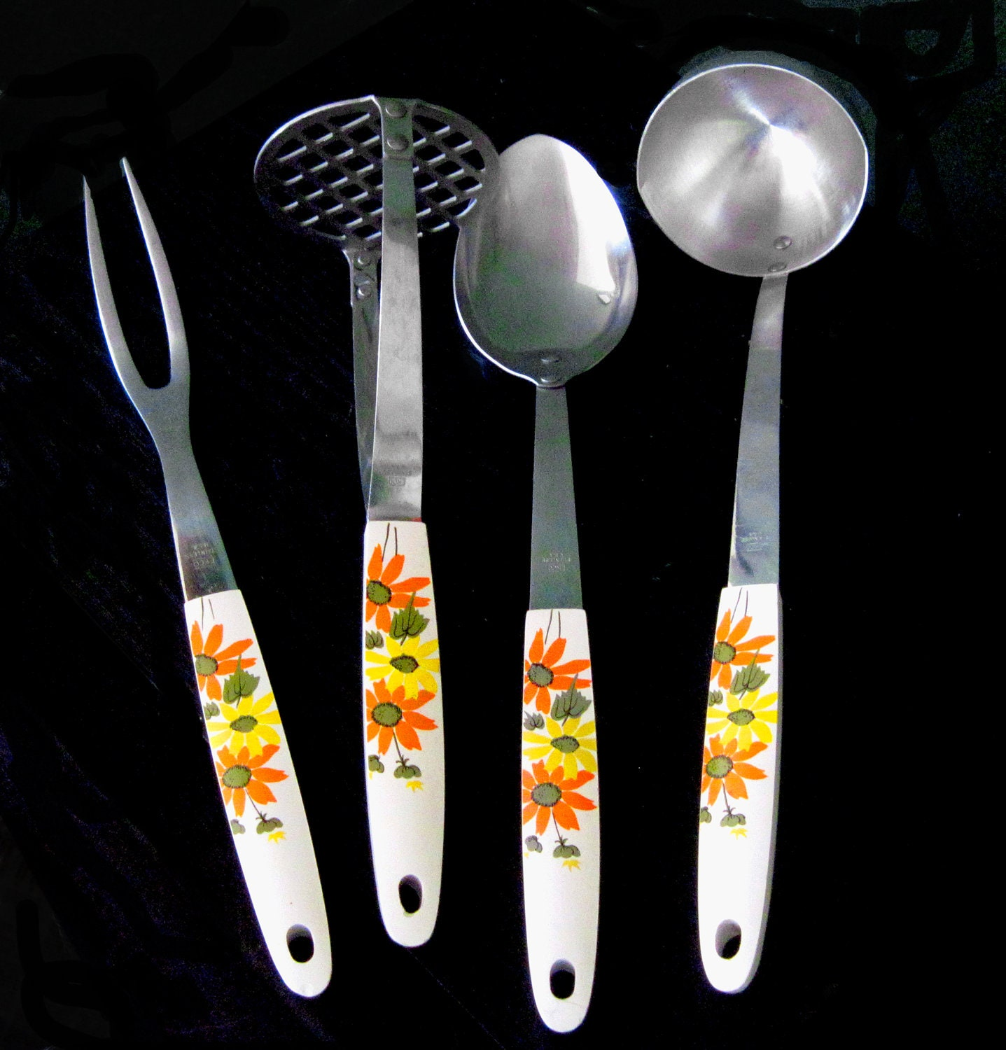 Set Of 4 Kitchen Utensils With Orange And By