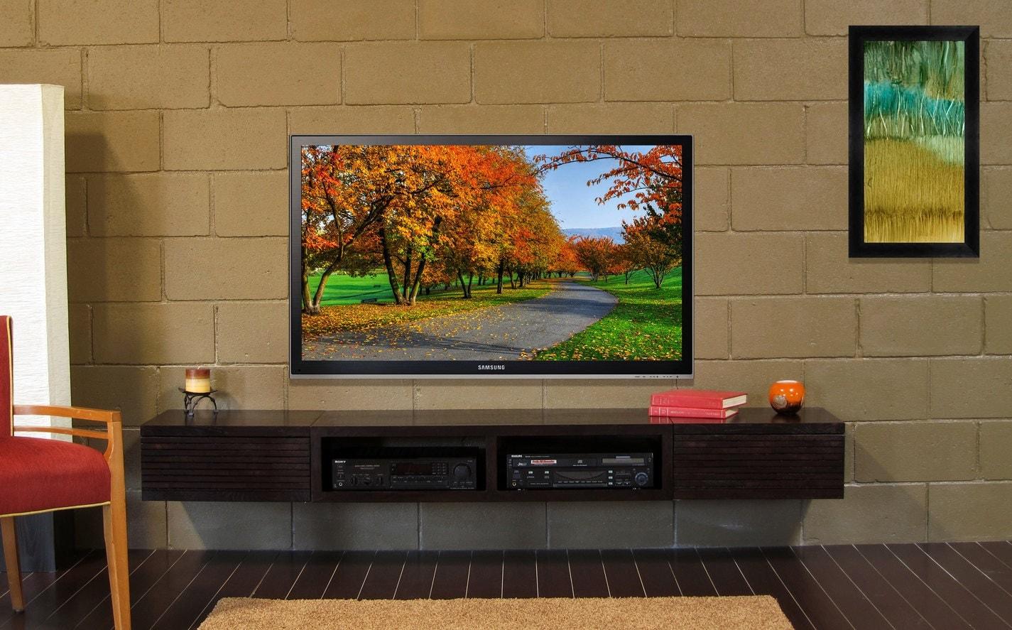 Wall Mounted Tv Stand Entertainment Console Mayan By