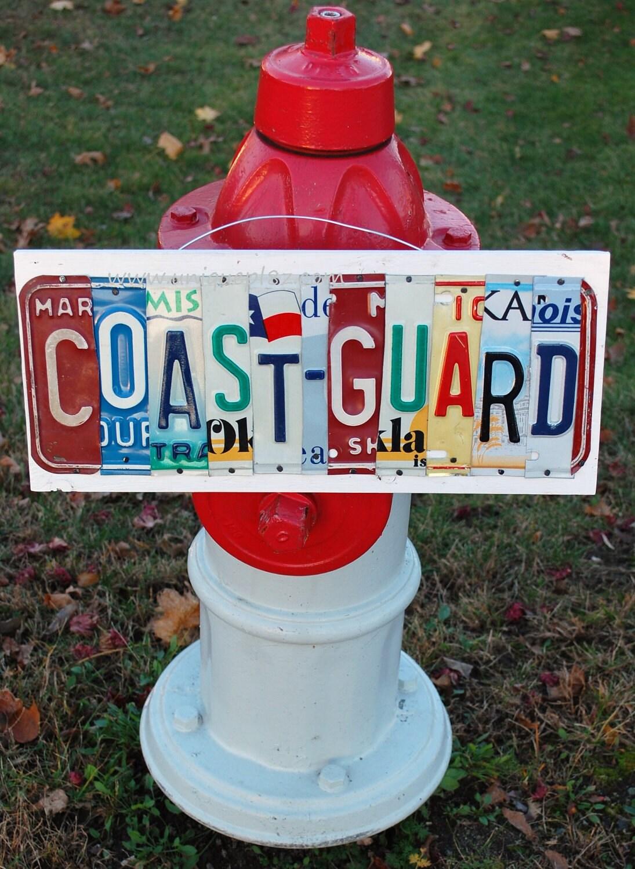 coast guard ooak license plate art custom home decor by