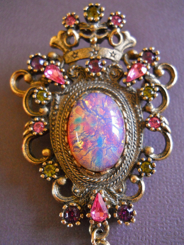 Vintage Sarah Coventry Brooch Pendant Fire Opal By Renaissancefair
