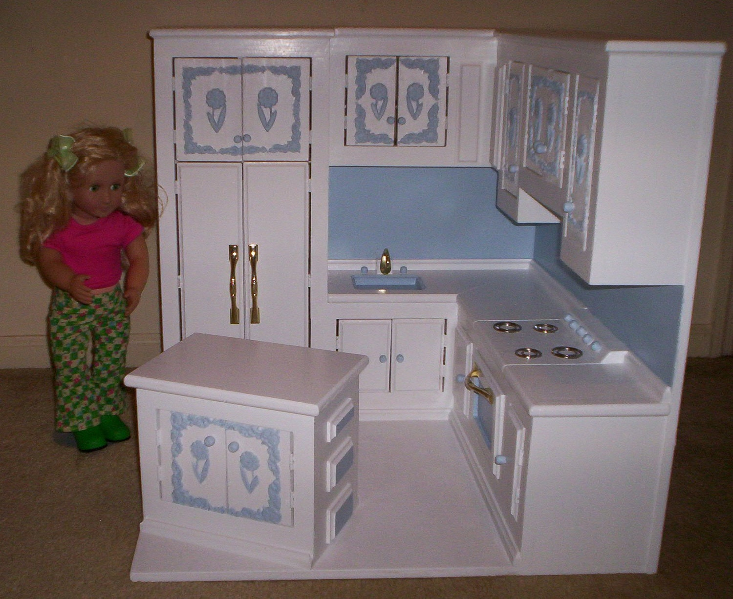 kitchen made for American Girl size doll by cmcraftedtreasures