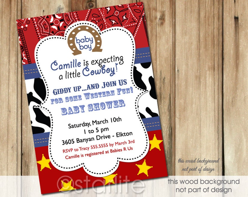 invitations stationery cowboy western theme baby shower invitations