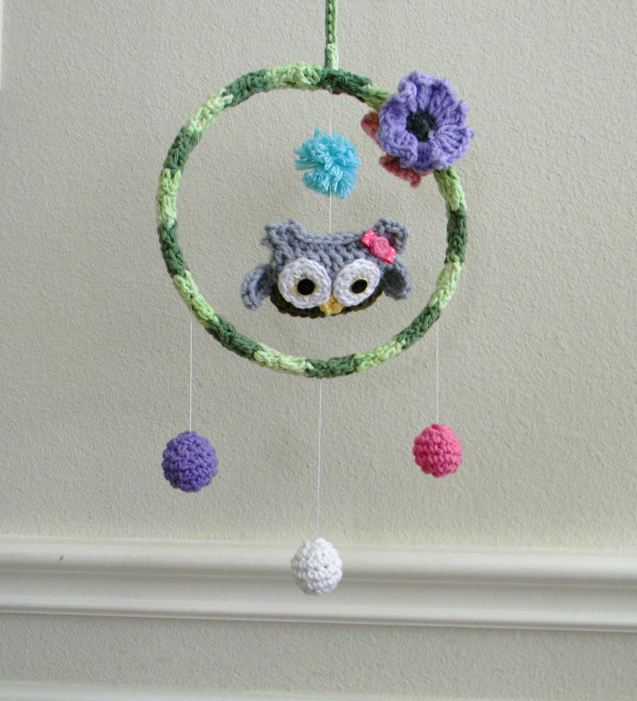 Crochet Baby Mobile Patterns : Owl girl baby mobile by ProudChildCrochet on Etsy