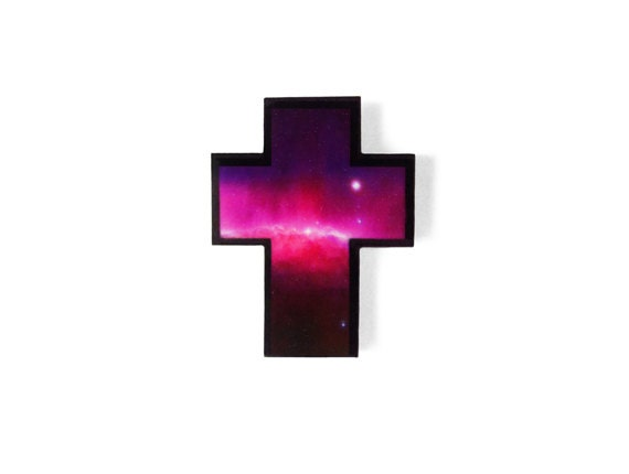 Cosmic Cross Acrylic Brooch