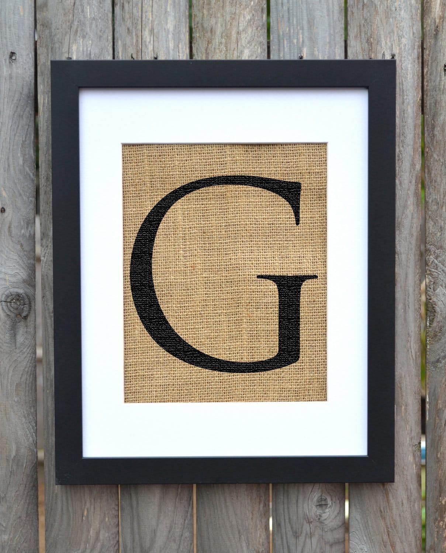Letter g monogram alphabet burlap wall decor by fiberandwater for Letter g wall decor