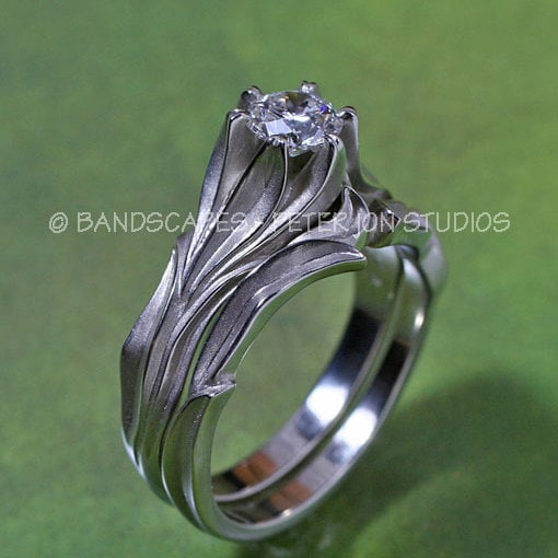 Alpine lily wedding ring set with white sapphire engagement ring
