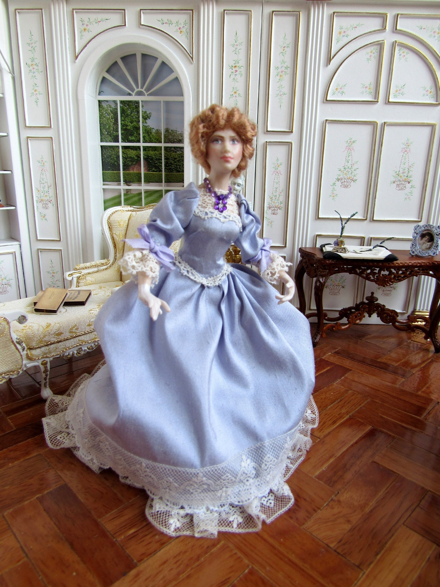 1:12 scale Dolls House Miniature Porcelain Doll with Silk dress character doll for Georgian Dolls House