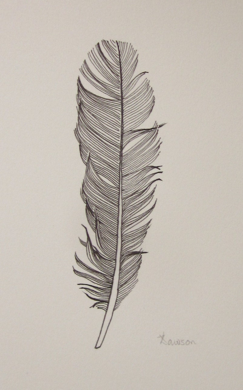 Black Feather 3 Original Ink Drawing By Anne4bags On Etsy