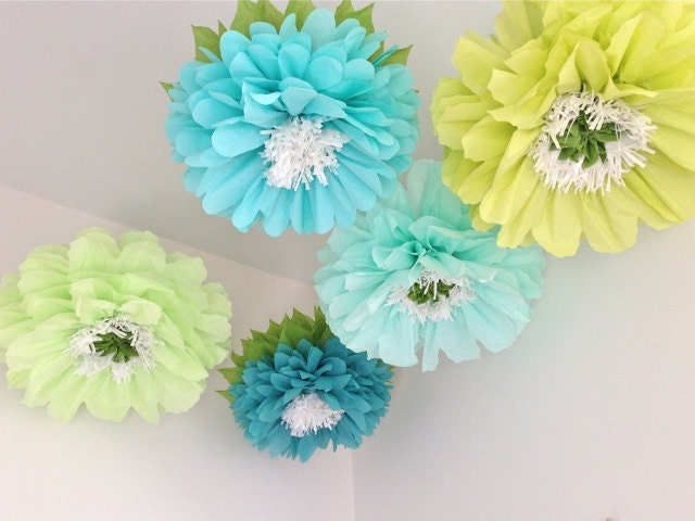 FRESH CUT 5 Giant Hanging Paper Flowers Oversize By Whimsypie