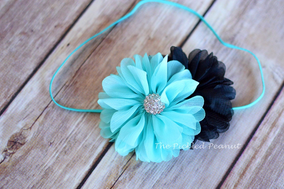 baby headband, flower headband, aqua headband, chiffon flower, newborn headband, toddler headband, ruffle headband, photography, fall