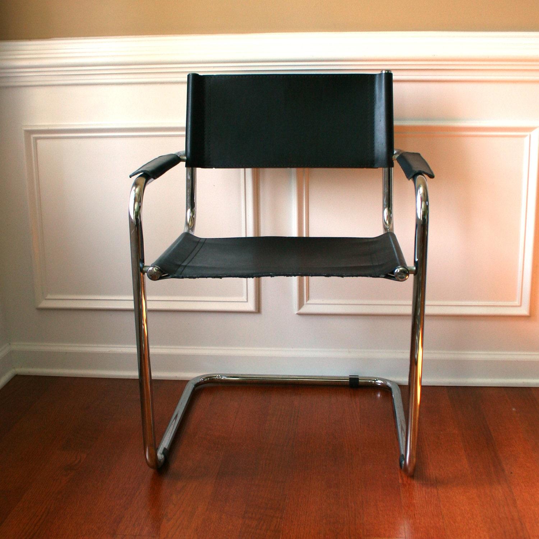 Mid Century Modern Chair Leather Chrome By Rhapsodyattic