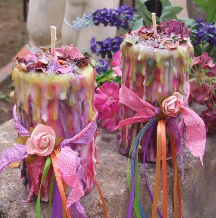 Floralia. Enchanted Witchery Candle 2x3. Sacred Rites of Fertility, Abundance, Nature Spirits, Sexual Energies, Wicca.