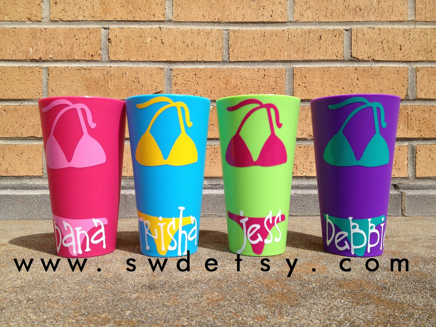 View Invoice  Personalized Bachelorette Cups, Set of 4 Tumblers, Beach,Bikini, Party Cups