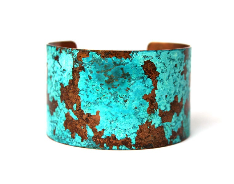 Patina Copper Cuff Verdigris Turquoise Blue Aged - TheBronzeFlower
