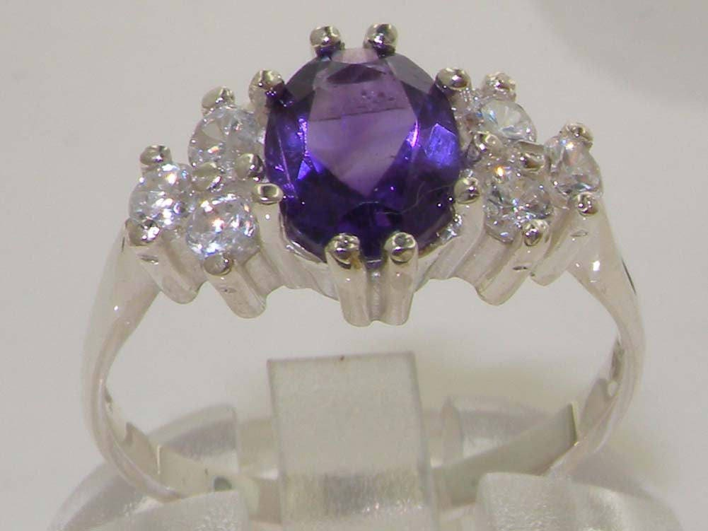Stunning Platinum Amethyst  Diamond Engagement Anniversary Ring English Design Solitaire Style Ring Customizable