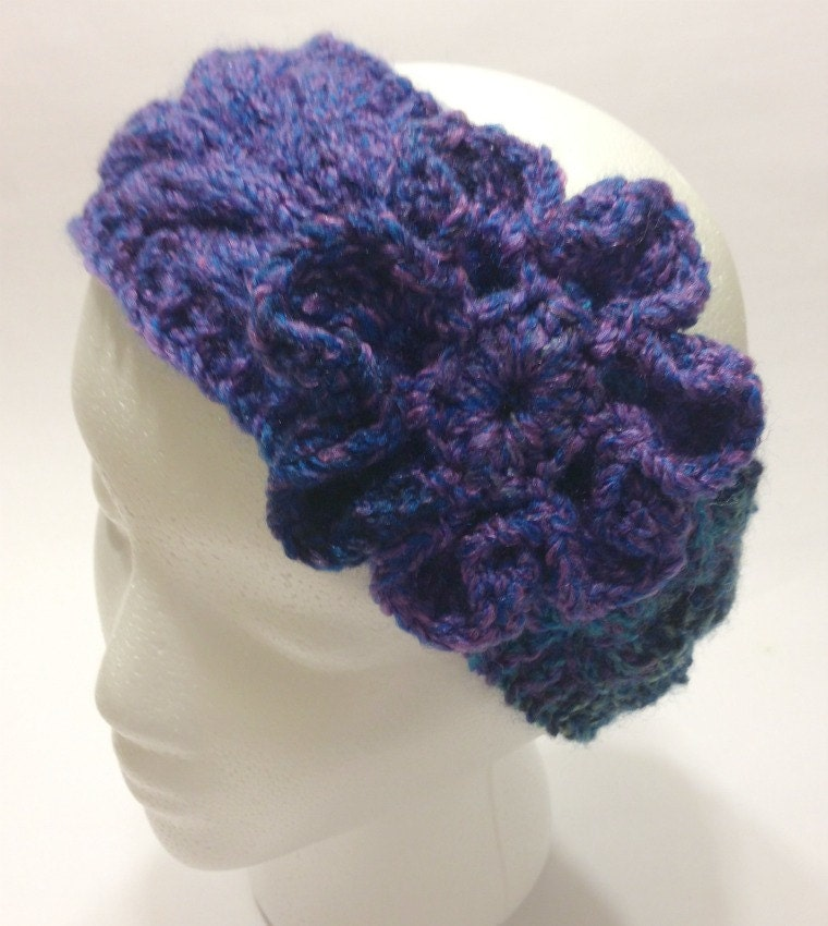 Crochet Headband Pattern Cable : Items similar to Knitted Headband, Cable, Crochet Flower ...