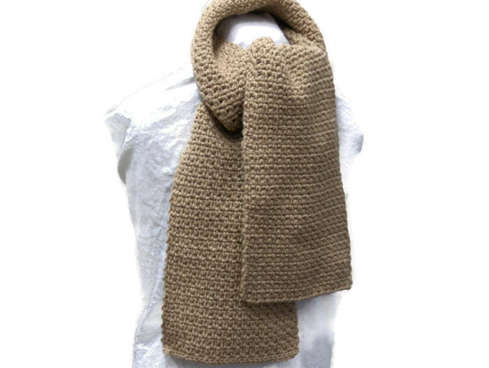 Crochet Mens Scarf : Crochet Mens Scarf or Womens Scarf in Tan