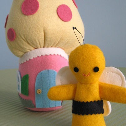 bee finger puppet template - bee puppet with mushroom cottage by fantastictoys on etsy