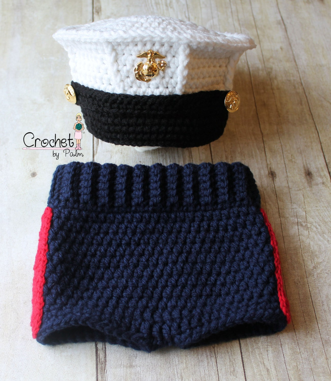 Crochet Baby Marine Hat Pattern : Items similar to Original Design Crochet Marine Corps and ...