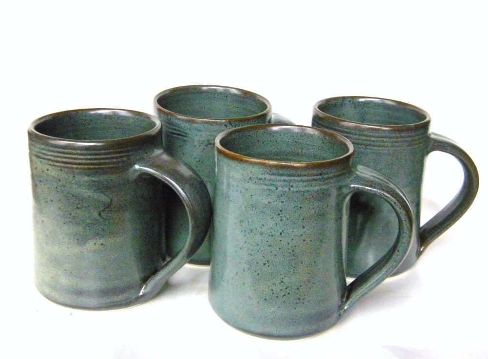 Set of 4 -16 oz Handmade Ceramic Mugs -- Slate Grey -- Hand crafted pottery for tea, cocoa or coffee - crutchfieldpottery
