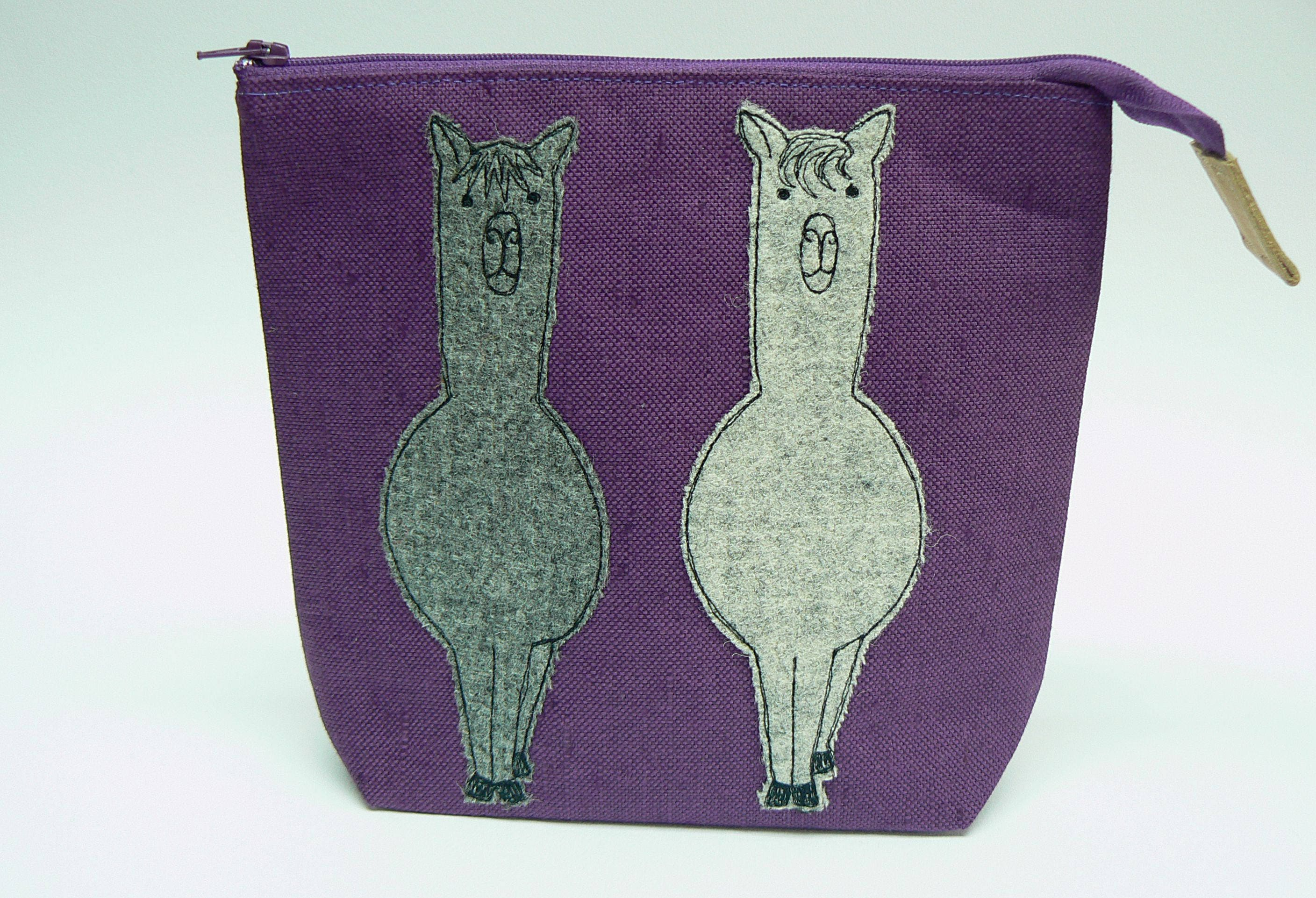 Tweedy Alpaca applique purple linen zipped pouch small project bag sock knitting bag