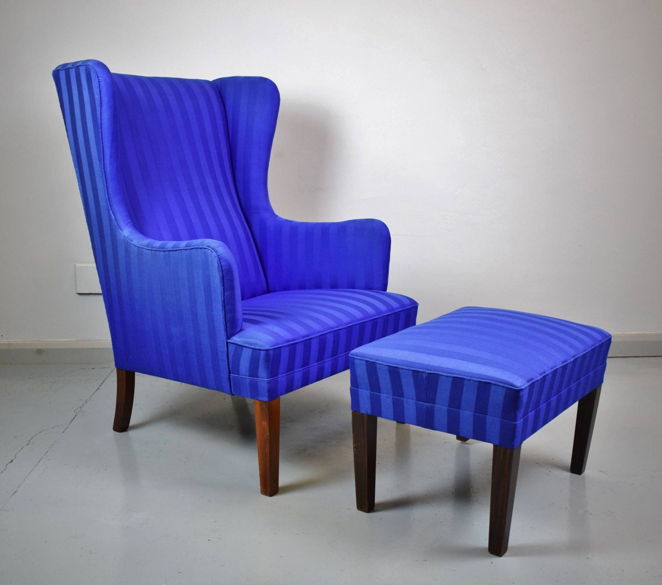 Mid Century Retro Danish Rosewood Wingback Lounge Armchair  Footstool 1950s