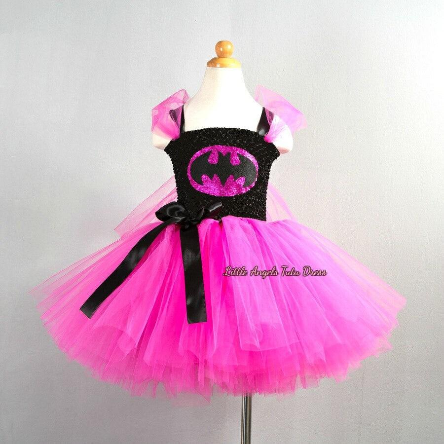 The Lego Batman Movie Inspired Tutu Dress Handmade Fancy Dress Costume Pink Tutu with Super Hero Mask Super Hero Dress Batgirl