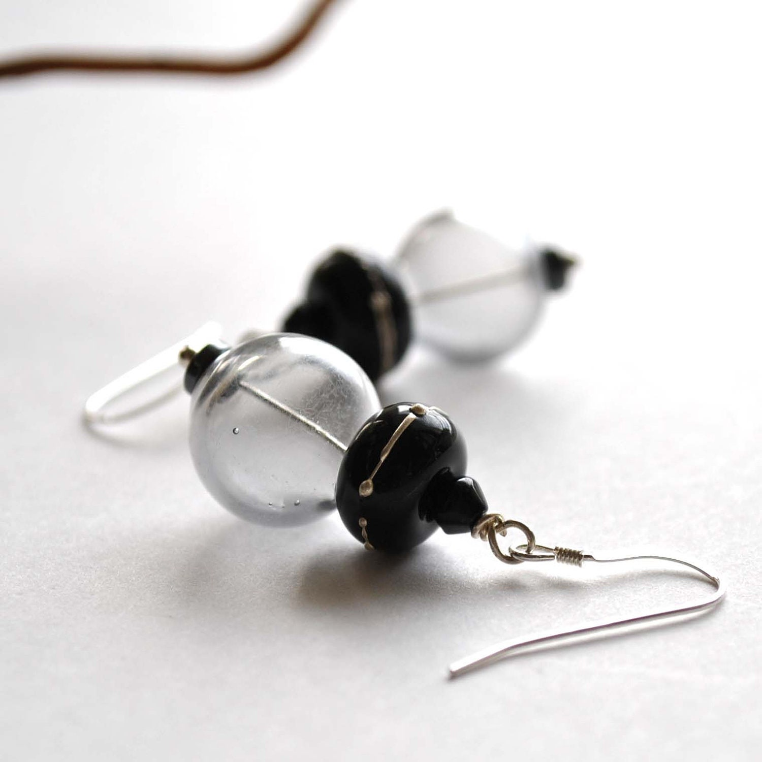 Night Sky Earrings - Black Lampwork Glass Dangle