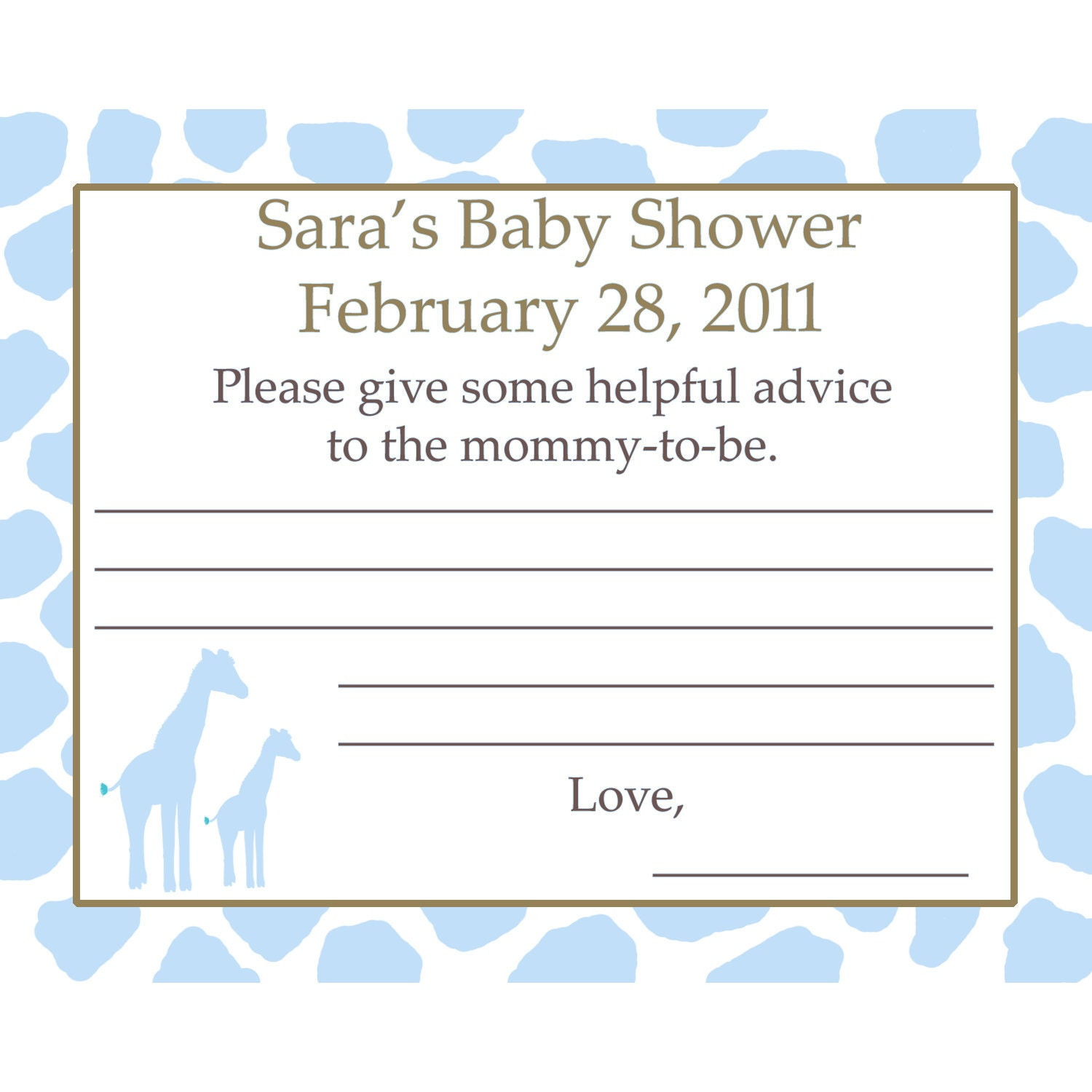 similar to 12 personalized baby shower advice cards giraffe on etsy