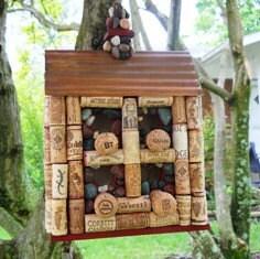 Wine Cork Birdhouse - agardenofmosaics