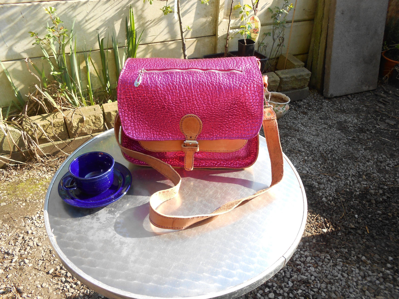 metallic cerise pink and pale tan leather shoulder bag