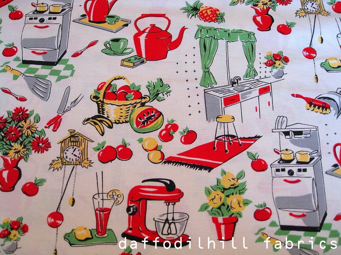 Fifties Kitchen in Creme Michael Miller fabrics by daffodilhill