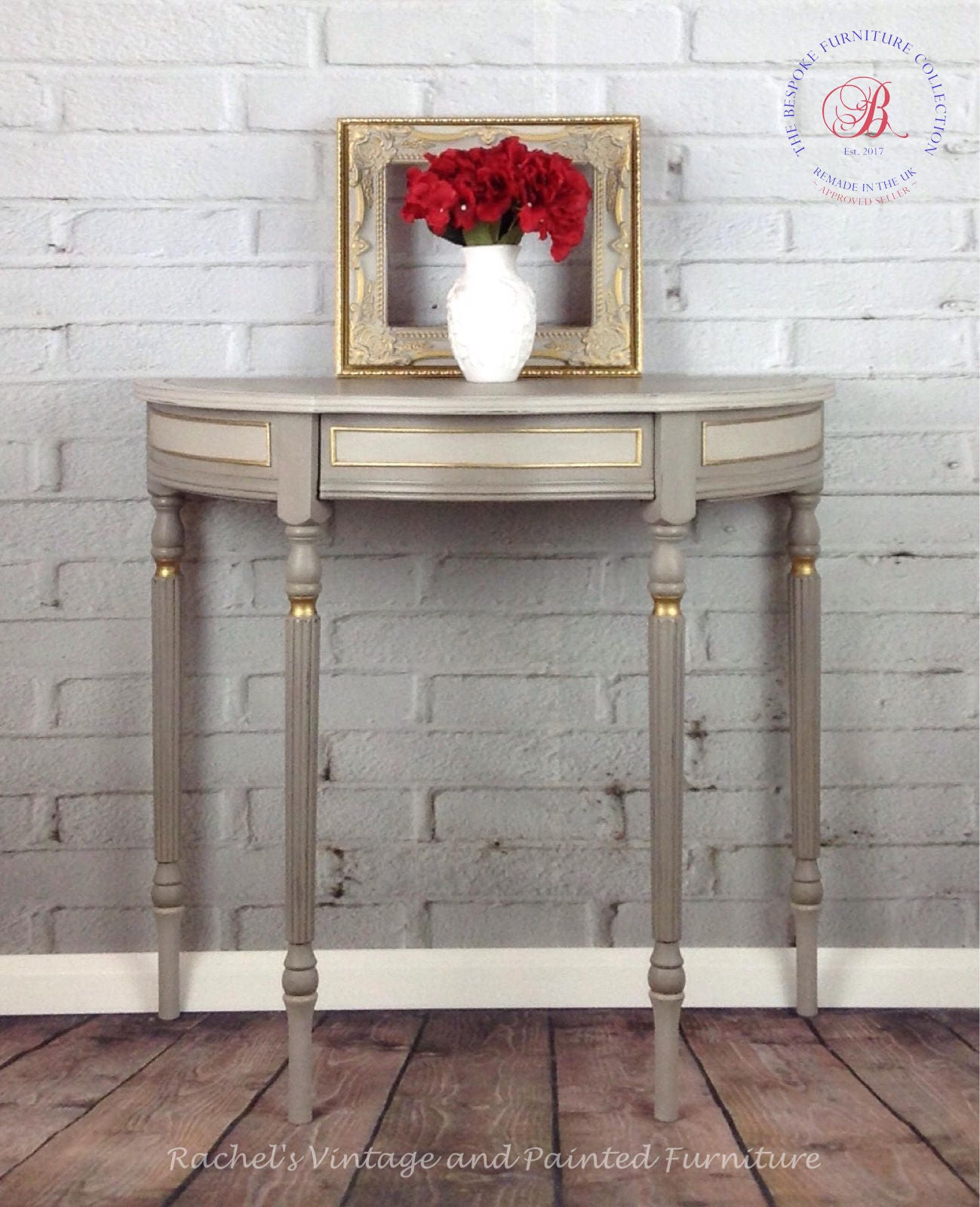 Vintage French Style Half Moon Console Table