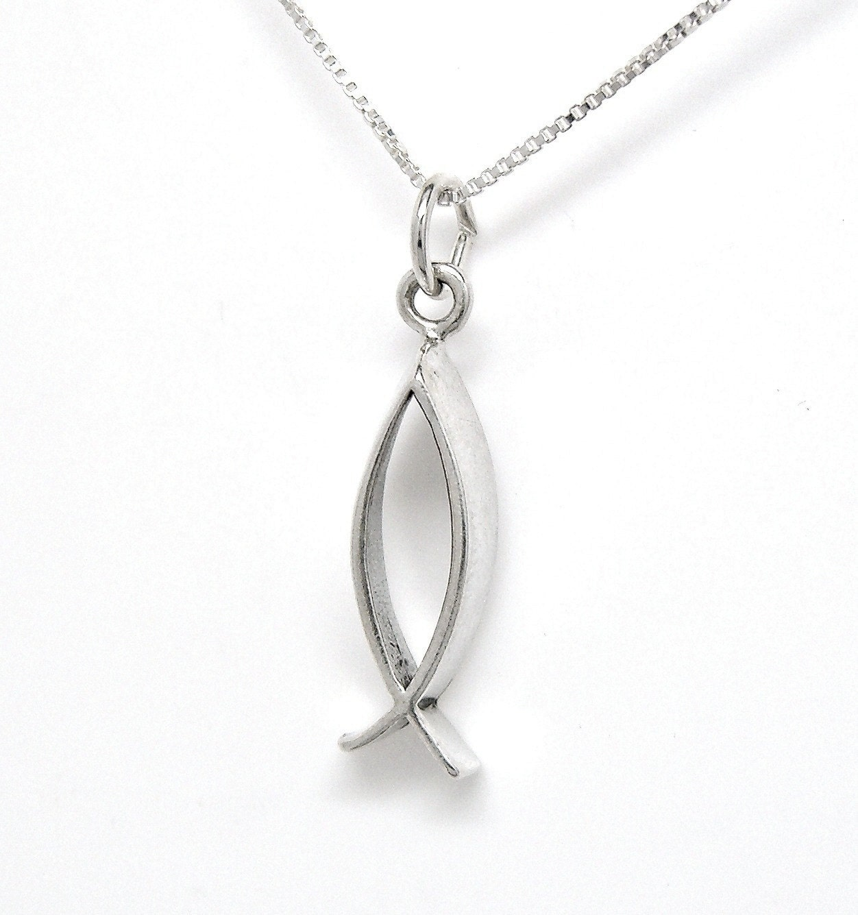 Sterling silver christian fish religious by grassshacktrading for Christian fish necklace