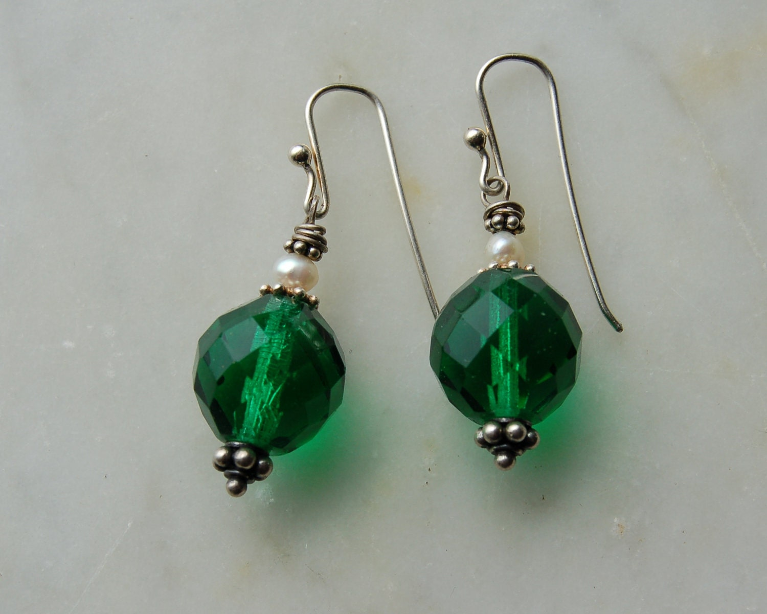 Vintage 1960s Swarovski Emerald green glass earrings with  freshwater pearls and handmade sterling earwires by Reneux - Reneux