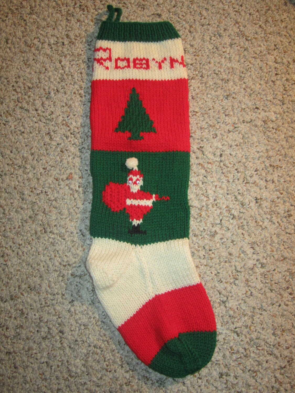 Knitted Christmas Stocking Patterns Personalized : Items similar to Personalized Hand Knit Christmas Stockings / Sock for Christ...