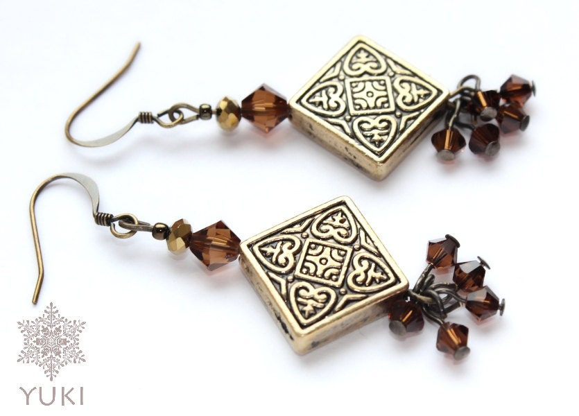 Old gold style long earrings with a large divider and brown Swarovski crystals, Brown earrings, Long, Handmade - YUKIJewellery