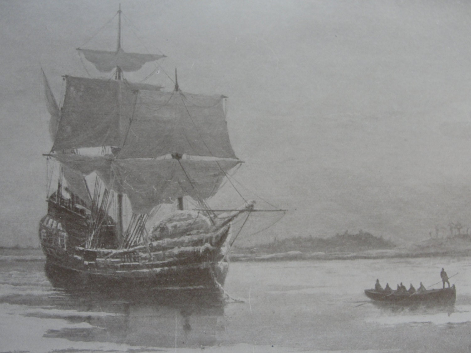 Sepia Print The Mayflower in Plymouth Harbor 1911 - BarnshopAntiques