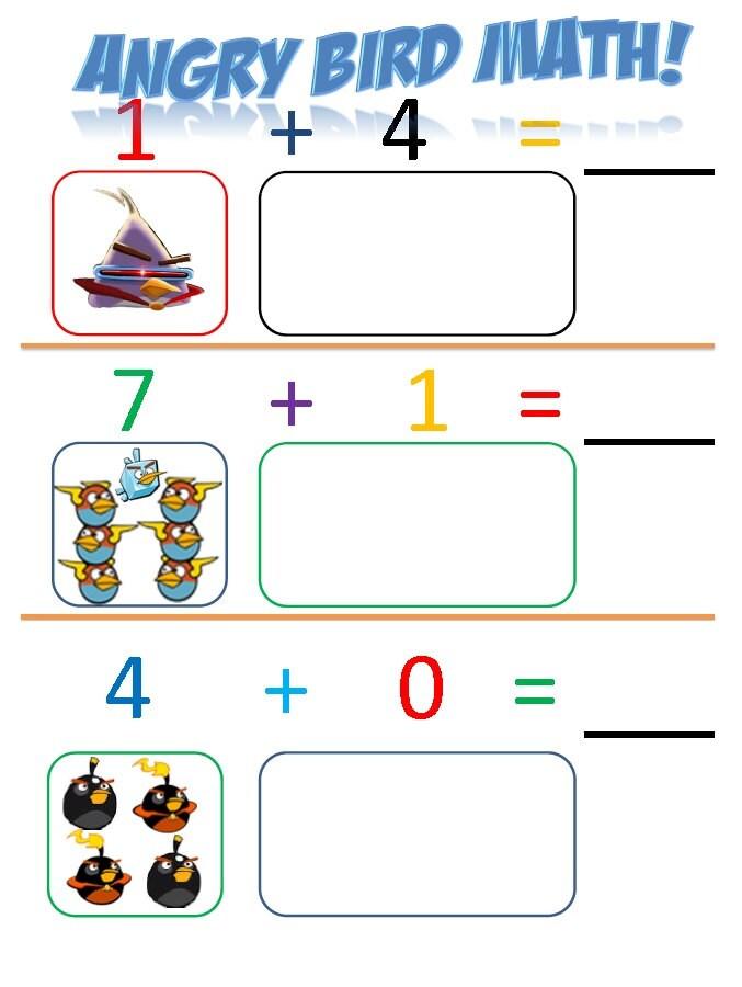 ... similar to Kindergarten Angry Bird Math Printable Worksheets on Etsy