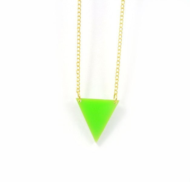 Neon Jewelry - Neon Green Triangle Necklace - Neon Necklace (N032)