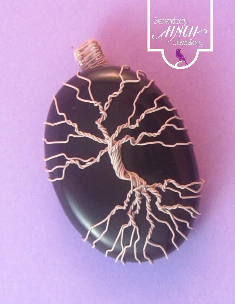 Black Onyx Tree of Life Pendant White Tree Pendant Black Pendant Wire Tree Pendant UK